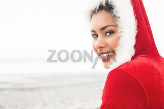 Attractive woman wearing a christmas styled jumper