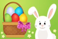 Basket with eggs and Easter bunny 1 - picture illustration.