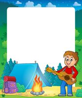 Summer frame with boy guitar player - picture illustration.