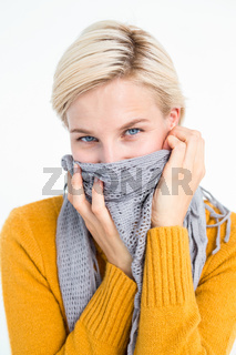 Smiling woman wearing a scarf