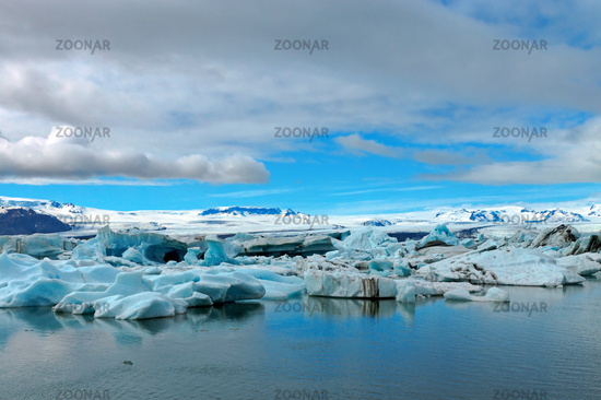 Icebergs at the glacier lagoon Jokulsarlon in Icel