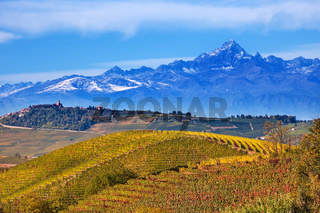 Hills and mountains in Piedmont, Italy.