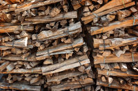 Stacked dried and tied firewood