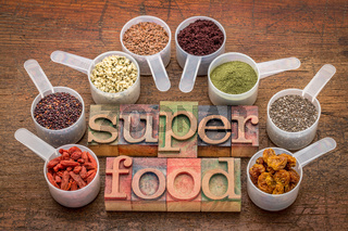 superfoods in sccop and letterpress typography