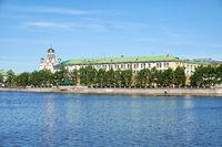 Ekaterinburg. Iset river embankment overlooking the complex of administrative buildings