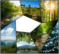 The collage of Carpathian mountains summer landscapes