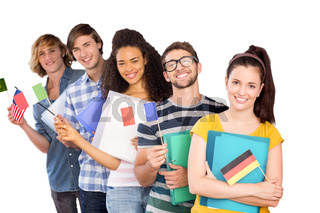 Composite image of college students holding flags