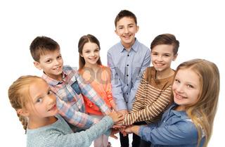 happy children with hands on top