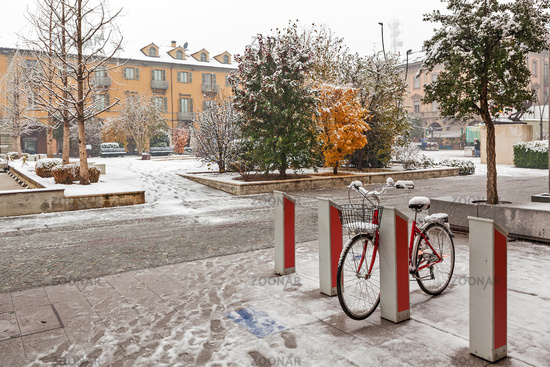 City center of Alba at snowy day.