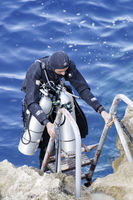 Technical Trimix Scuba diver on Ladder, Gozo Malta