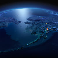 Detailed Earth. Chukotka, Alaska and the Bering Strait on a moonlit night