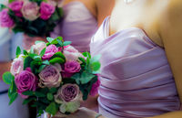 Bridesmaids Holding Colorful Wedding Bouquets