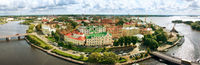 Panorama of Vyborg town with port
