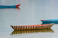 Small boat on Fewa Lake, Nepal