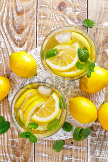 summer citrus lemonade drink with fresh lemon and mint