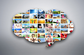 Speech bubble design element made of pictures