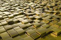 golden metallic cubes