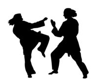 Women karate fight.(vector EPS)