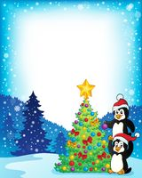 Frame with penguins near Christmas tree - picture illustration.