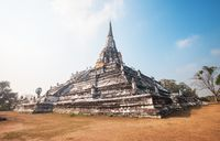 part of the ruin of Wat Phu Khao Thong in Ayutthaya Thailand