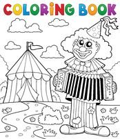 Coloring book clown near circus theme 4 - picture illustration.