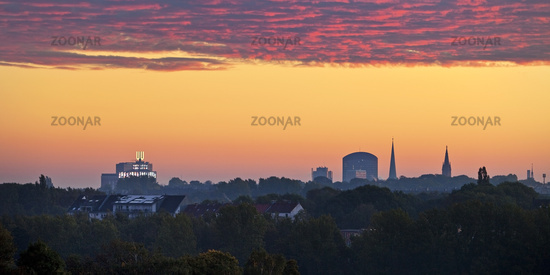 skyline of Dortmund with U-Tower in moring light