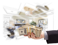 Handing Stack of Money Over Bedroom Drawing Photograph Combination