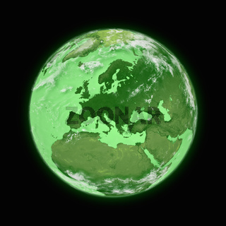 Europe on blue planet Earth isolated on black background. Highly detailed planet surface. Elements of this image furnished by NASA.