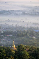 Foggy morning at Hpa An city with Gabar Lone Pagoda. Myanmar (Burma)