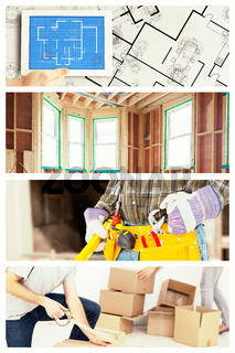 Composite image of handyman holding spirit level