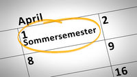summer semester 1st of april in german language