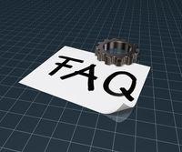das wort faq auf papierblatt und ein zahnrad - 3d rendering