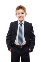 Smiling child boy in business suit
