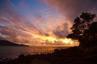 Beautiful tranquil sun rise on the coastline
