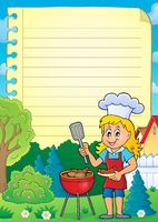 Lined paper with barbeque theme 2 - picture illustration.