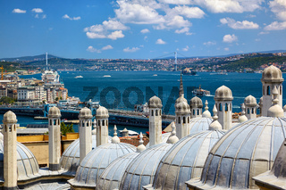 The view of the Bosphorus with the Bosphorus bridge from the Suleymaniye Mosque, Istanbul