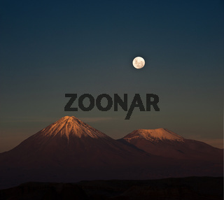 Full-moon in the Moon Valley. Atacama desert of Chile