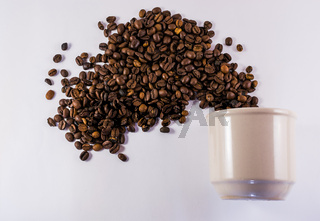 Coffee Cup and Exploding Roasted Beans