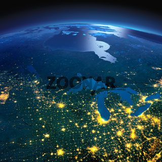 Detailed Earth. The northern U.S. states and Canada on a moonlit night