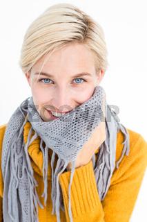 Cute woman wearing her scarf