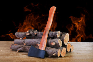 firewood logs and axe