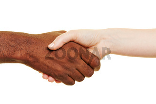 Afrikaner und Europäer beim Händedruck