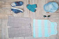Flat lay photography of boy#39;s casual outfit.