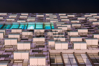 Apartment buildings at night, Docklands, London, United Kingdom