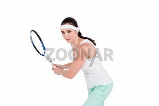 Female athlete playing tennis