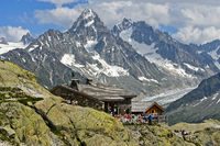 Mountain hut Refuge du Lac Blanc, Chamonix, France