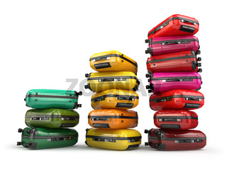 Heap of baggage.Travel or tourism development concept. Grouth of amount of transportations.