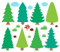 Stylized coniferous trees collection 1 - picture illustration.