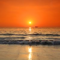 Sunset over sea in Thailand