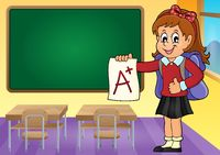 School girl with A plus grade theme 3 - picture illustration.